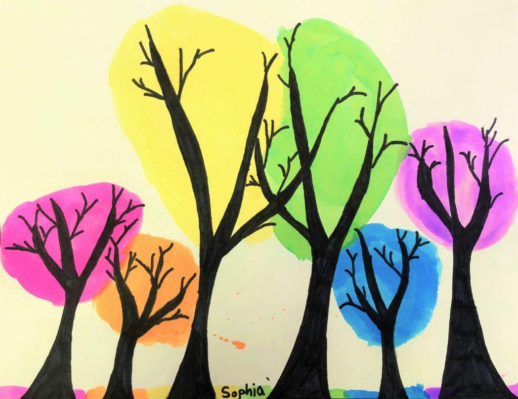 Rainbow Trees Art Lesson for kids - Leah Newton Art