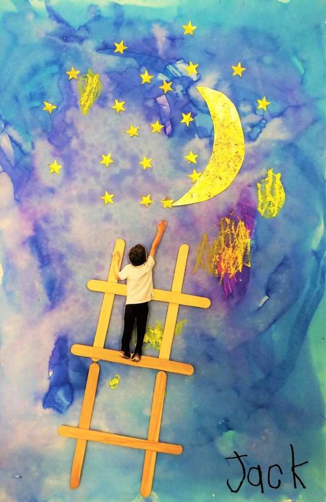Georgia O'Keeffe Ladder to the Moon art lesson for kids